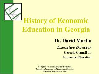 History of Economic Education in Georgia