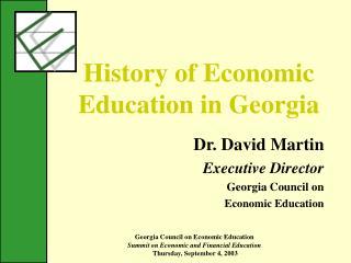 History of Economic Education in Georgia