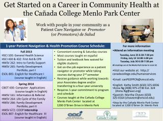 Get Started on a Career in Community Health  at the Cañada College Menlo Park Center
