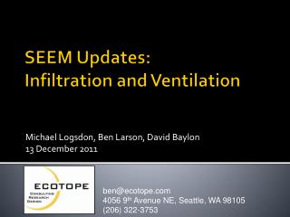 SEEM Updates: Infiltration and Ventilation
