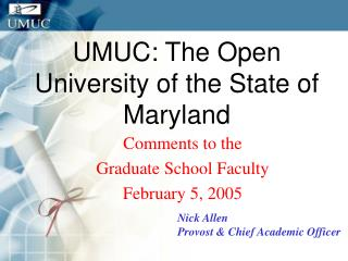 UMUC: The Open University of the State of Maryland