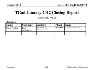 TGad January 2012 Closing Report
