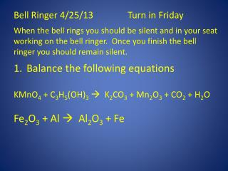 Bell Ringer 4/25/13Turn in Friday