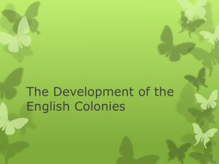 The Development of the English Colonies