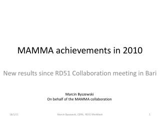 MAMMA achievements in 2010