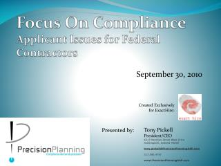 Focus On Compliance Applicant Issues for Federal Contractors