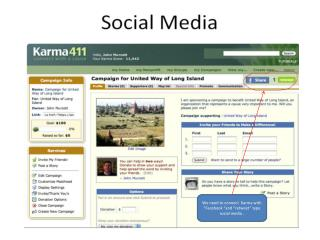 "We need to connect  Karma with "" Facebook  ""and "" retweet "" type social media ."