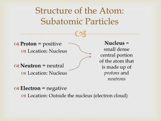Structure of the Atom:  Subatomic Particles