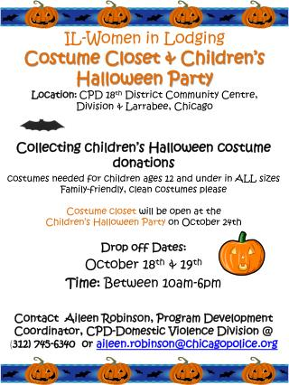 Collecting children's Halloween costume donations