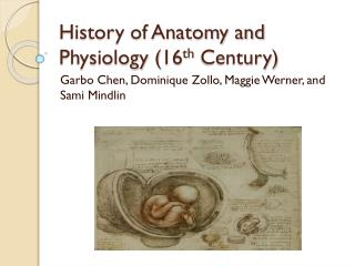 History of Anatomy and Physiology (16 th  Century)