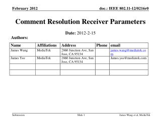 Comment Resolution Receiver Parameters