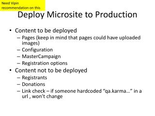 Deploy Microsite to Production