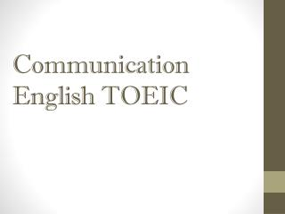 Communication English TOEIC