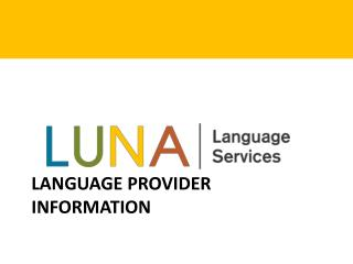 Language provider information