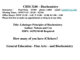 CHM 3240 � Biochemistry