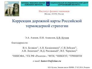 Институт физики токамаков Москва , 123182,  Россия