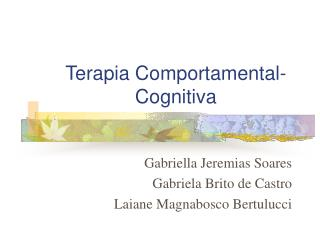Terapia Comportamental-Cognitiva