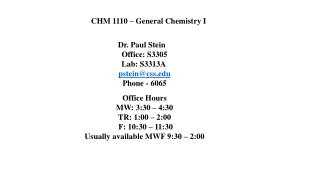 CHM  1110  �  General Chemistry I