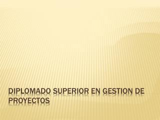 DIPLOMADO SUPERIOR EN GESTION DE PROYECTOS