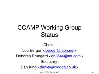CCAMP Working Group Status