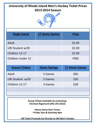 University of Rhode Island Men's Hockey Ticket Prices 2013-2014  Season
