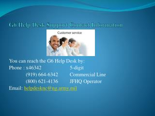 G6 Help Desk Support Contact Information