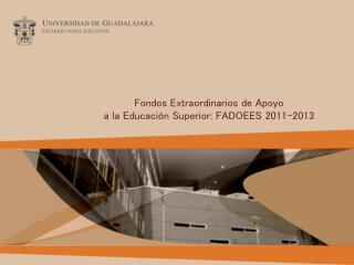 Fondos Extraordinarios de Apoyo  a la Educación Superior: FADOEES 2011-2013
