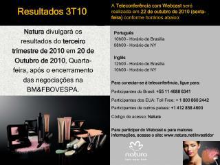 Português 10h00 – Horário de Brasília 08h00  – Horário de NY Inglês 12h00 – Horário de Brasília