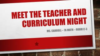 Meet The Teacher and Curriculum Night