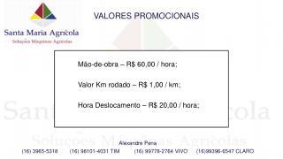 M�o -de- obra � R$ 60,00 /  hora ; Valor Km  rodado  � R$ 1,00 / km;