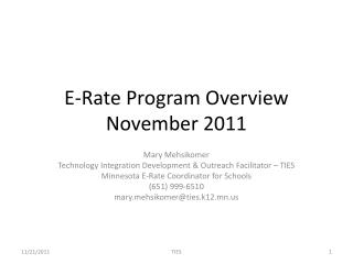E-Rate Program Overview November 2011