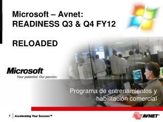 Microsoft – Avnet:  READINESS Q3 & Q4 FY12 RELOADED