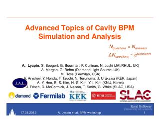 Advanced Topics of Cavity BPM Simulation and Analysis