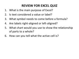 REVIEW FOR EXCEL QUIZ