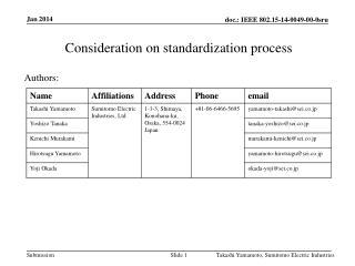 Consideration  on  standardization process