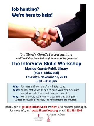 My Sister's Closet 's Success Institute And The Kelley Association of Women MBAs present: