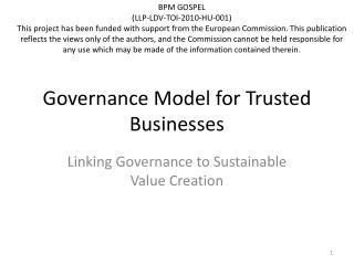 Governance  Model  for Trusted Businesses