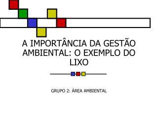 A IMPORTÂNCIA DA GESTÃO AMBIENTAL: O EXEMPLO DO LIXO