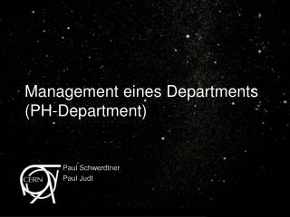 Management eines Departments (PH-Department)