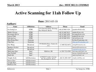 Active Scanning for 11ah Follow Up