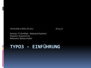 TYPO3 - Einführung