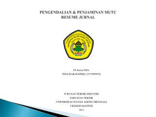 PENGENDALIAN & PENJAMINAN MUTU RESUME JURNAL