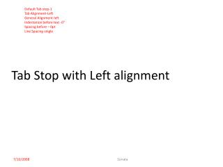Tab Stop with Left alignment