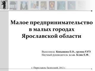 Малое предпринимательство                                    в малых городах  Ярославской области