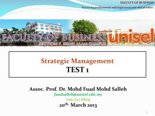 Assoc. Prof. Dr.  Mohd Fuad Mohd Salleh fuadsalleh@unisel.my 019-332 6629 20 th . March  2013
