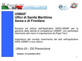USMAF Uffici di Sanità Marittima  Aerea e di Frontiera