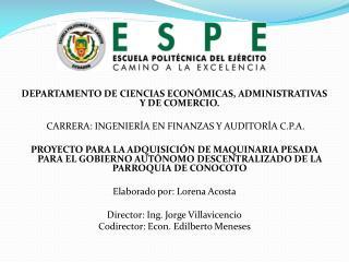 DEPARTAMENTO  DE CIENCIAS ECONÓMICAS, ADMINISTRATIVAS Y DE COMERCIO.