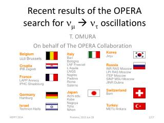 Recent results of the OPERA search for  n m   n t oscillations