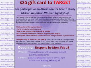 $20 gift card to  TARGET