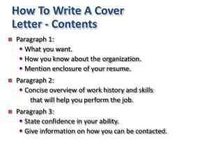 How To Write A Cover Letter - Contents